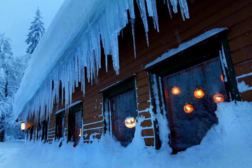 Ice hanging from the edge of a roof in Lauscha, Germany