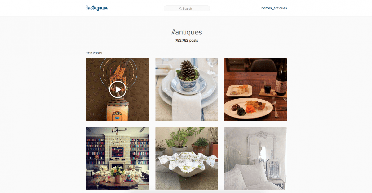 An image of the pictures shown on instagram when the hashtag antiques is searched