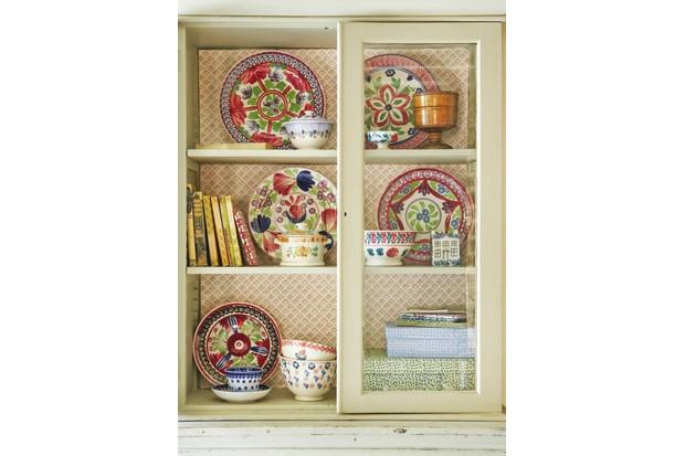 A cupboard full of spongeware pottery