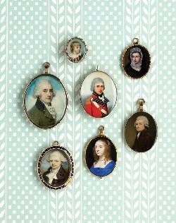 Seven different portrait miniatures
