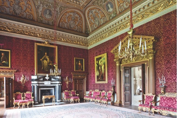 The saloon of Houghton Hall. A portrait of Catherine the Great of Russia hangs over the fireplace