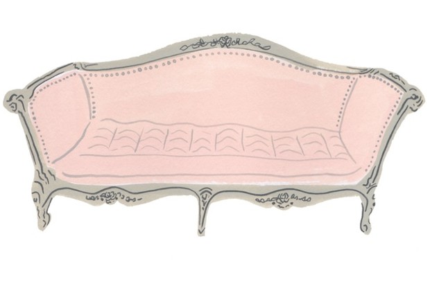 An illustration of a pink Victorian sofa