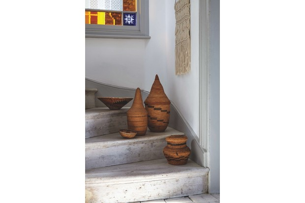 Tribal baskets on a staircase