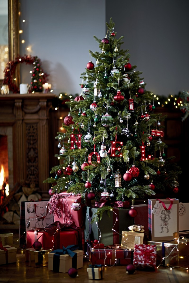A Christmas tree with presents underneath