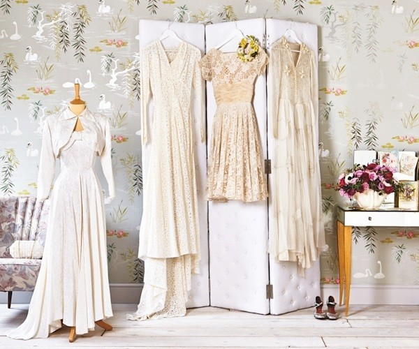 Vintage wedding dresses on display