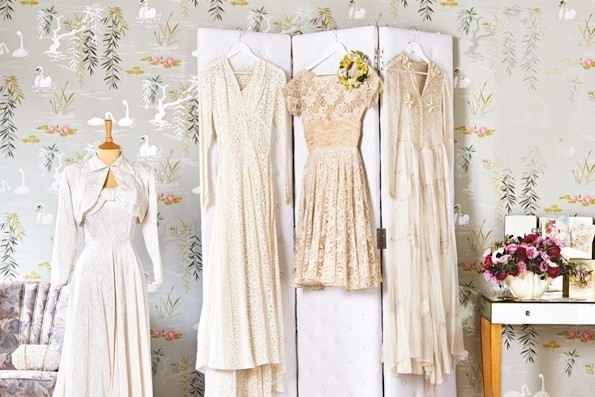 Vintage wedding dresses on display