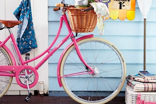 A vintage pink Pashley bicycle