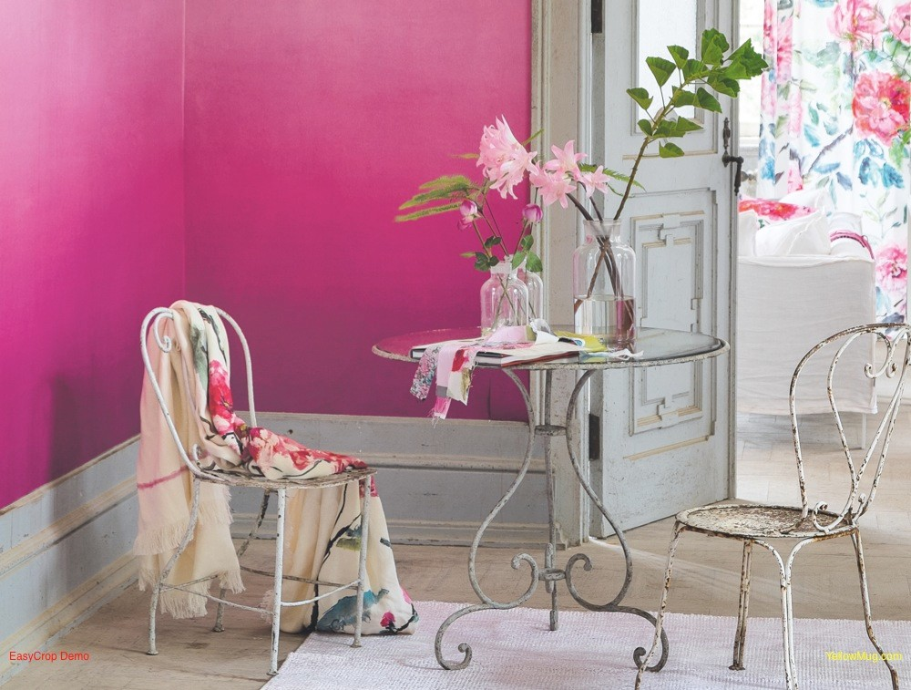 A fuschia pink feature wall