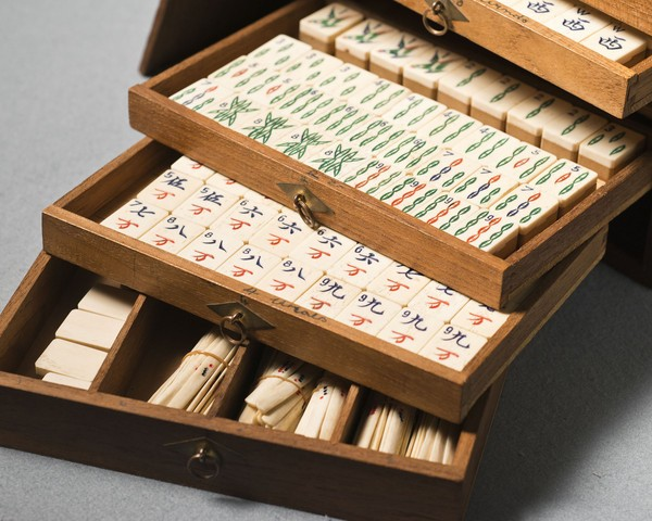 A vintage mah-jong game set