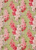 A sample of pink floral fabric from Bennison Fabrics