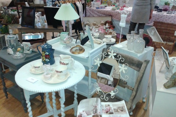 Collections of vintage wares at an antiques fair