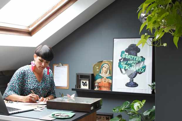 Artist Helen Ward in her home-based workshop
