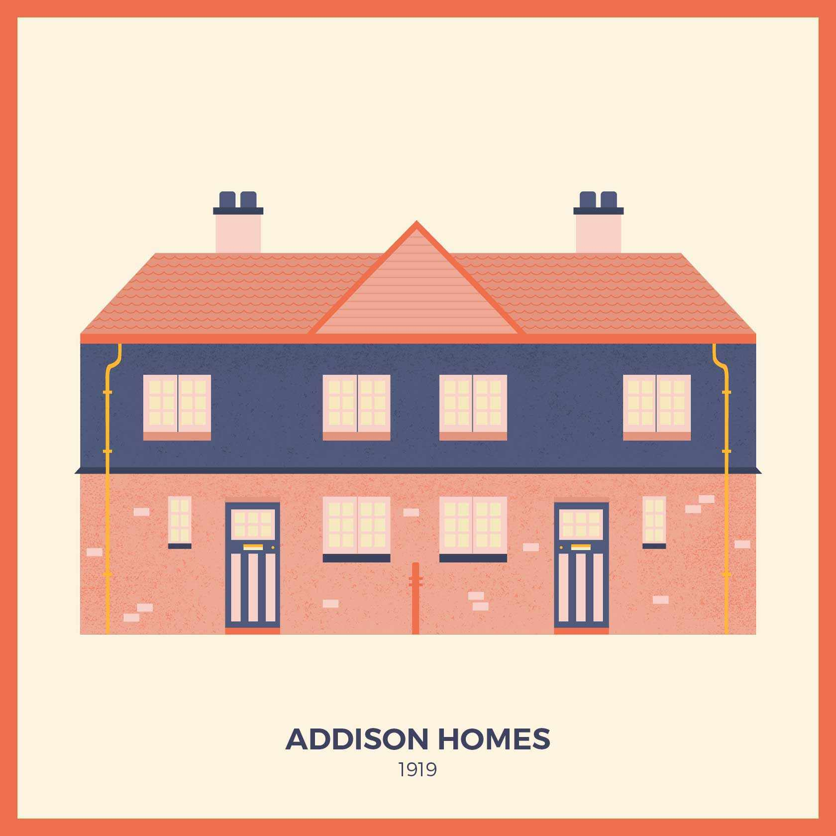 An example of an Addison home built after the First World War in the Arts and Crafts style