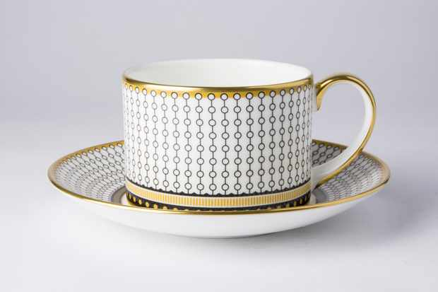 'Oscillate Onyx' teacup and saucer by Royal Crown Derby