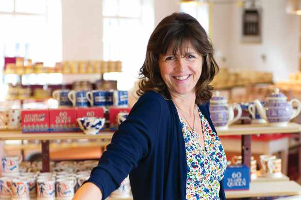 A portrait of Emma Bridgewater in the factory shop