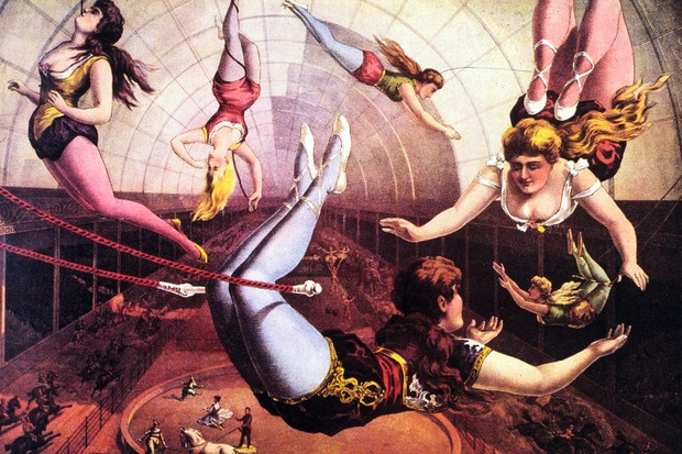 An illustration of a circus trapeze act