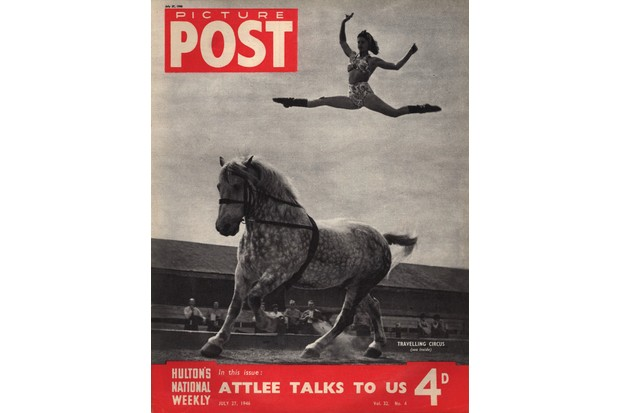 27th July 1946: A performer from the Chipperfield Circus leaps high into the air from the back of a horse, during the troupe's short stay in Little Wadebridge. The headline beneath reads 'Attlee Talks To Us'. Original Publication: Picture Post Cover - 4144 - The Circus Comes To Town - pub. 1946 (Photo by IPC Magazines/Picture Post/Getty Images)