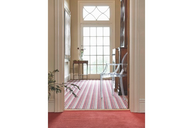 Dimensions Plain carpet in Tomato, £35 per sq m; Portofino Rosso, £50 per sq m, both Brockway Carpets.