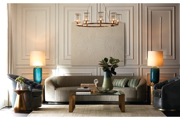 Arteriors Turner Sofa £3,486, Jocelyn Coffee Table £3,486, Haven Accent Table £510, Lorena Chandelier £3,486, Jarvis Vase £269.