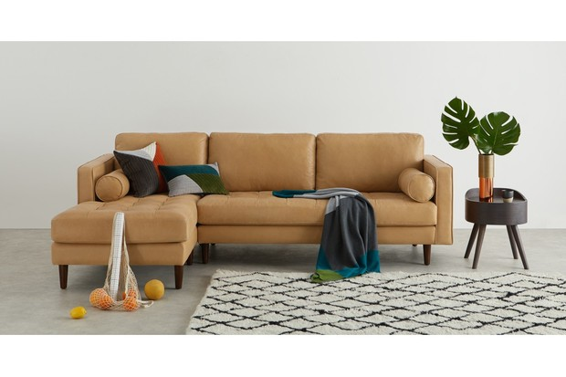 Scott 4 Seater Left Hand Facing Chaise End Corner Sofa, Chalk Tan Premium Leather, made.com