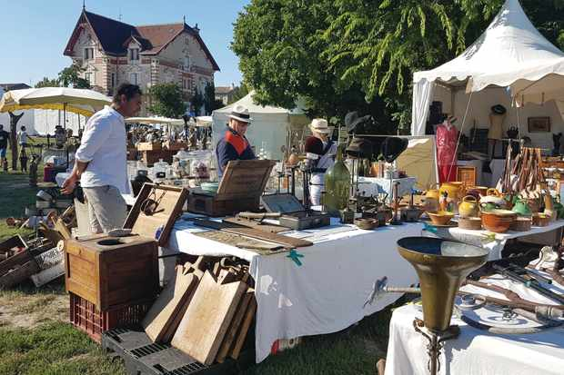 Antiques dealers set out their wares at open-air brocantes throughout the year