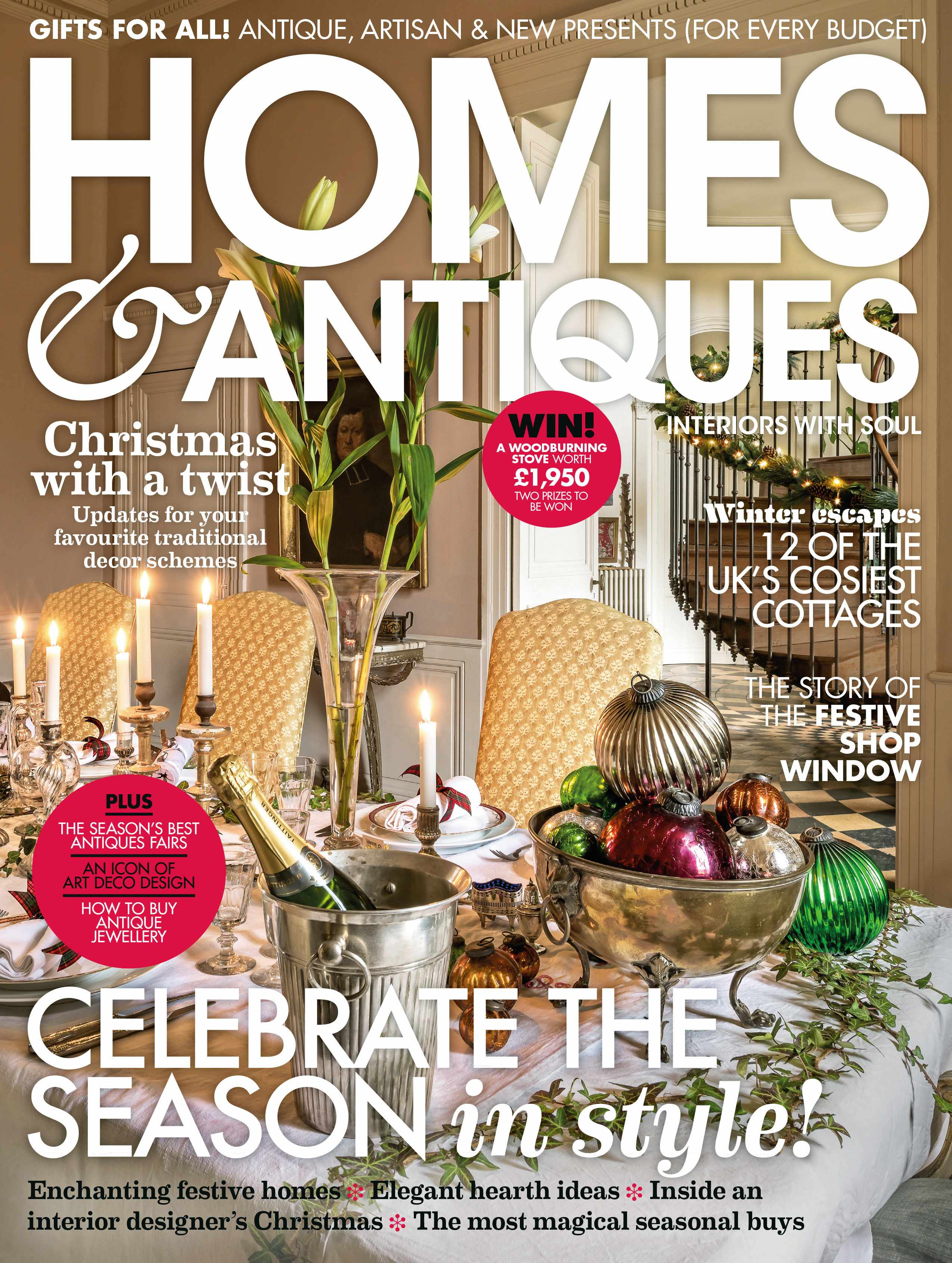 Homes & Antiques magazine December 2018 cover