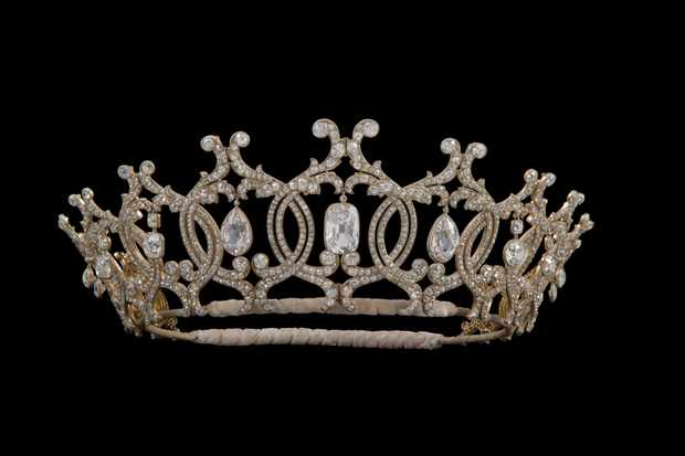 The stolen Portland Tiara against a black background