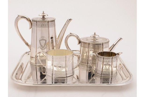 Silver tea and coffee set on a silver tray