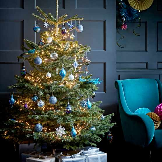 A real Christmas tree from Wyevale Garden Centres adorned in warm lights and blue baubles in front of a dark blue panelled wall