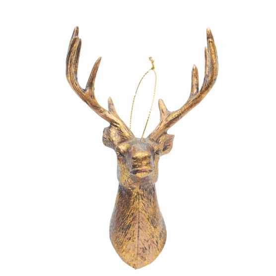 Gold Stag Head Christmas Tree Decoration