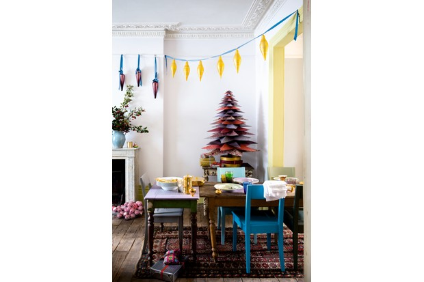 Create a grown-up vintage feel by pairing unexpected colour combinations with quirky paper decorations. Chairs in a variety of Farrow & Ball shades, £25 for 750ml of Estate Eggshell.