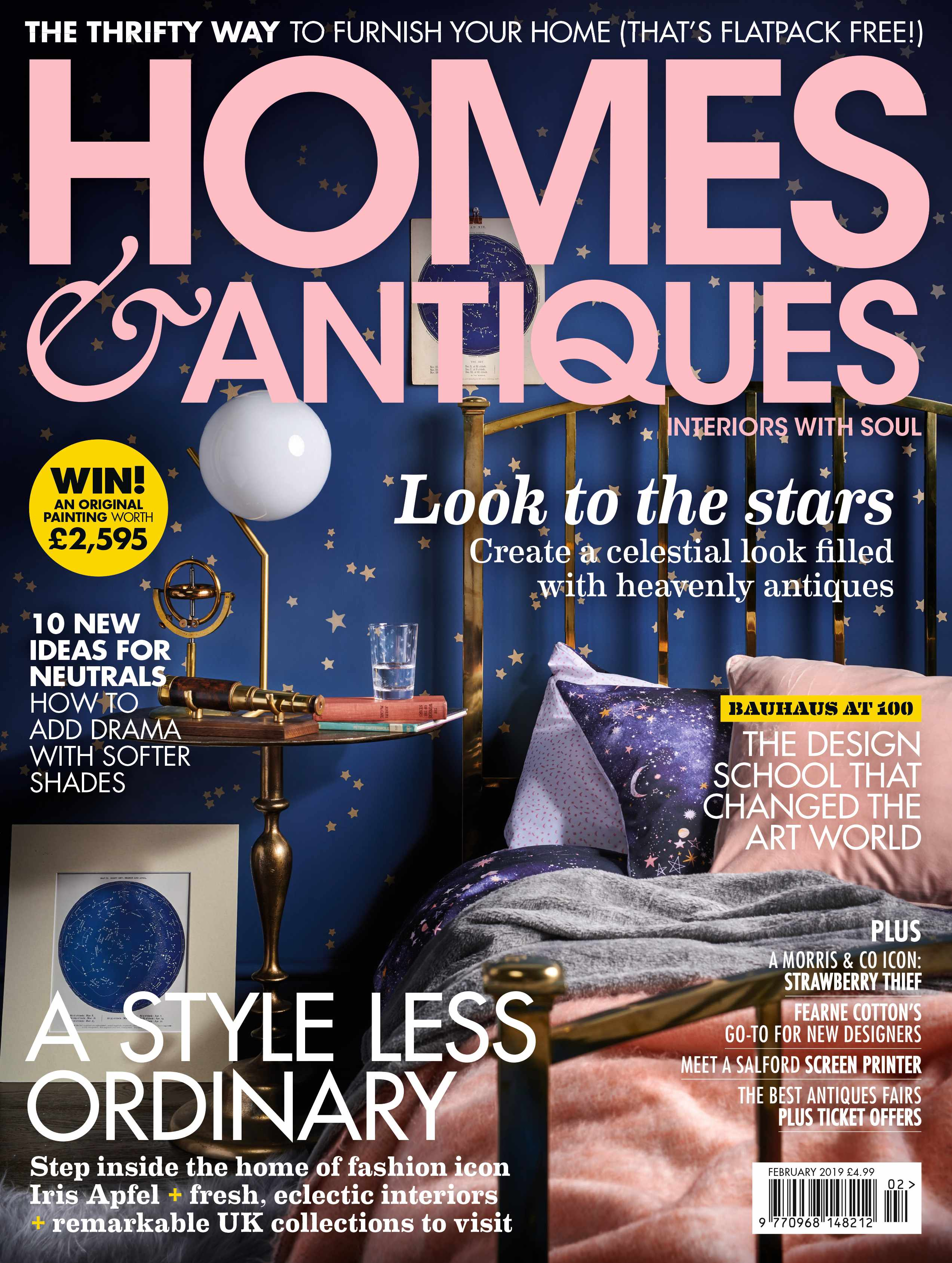 Homes & Antiques magazine February 2019 cover featuring a bedroom filled with celestial antiques and star inspired accessories