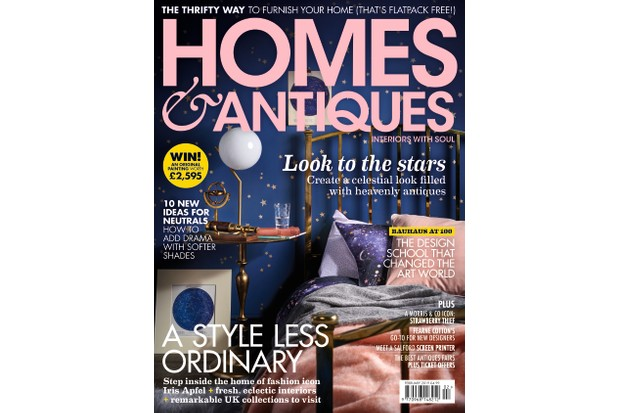 Homes & Antiques magazine February 2019 cover featuring a bedroom filled with celestial antiques and star/constellation inspired accessories