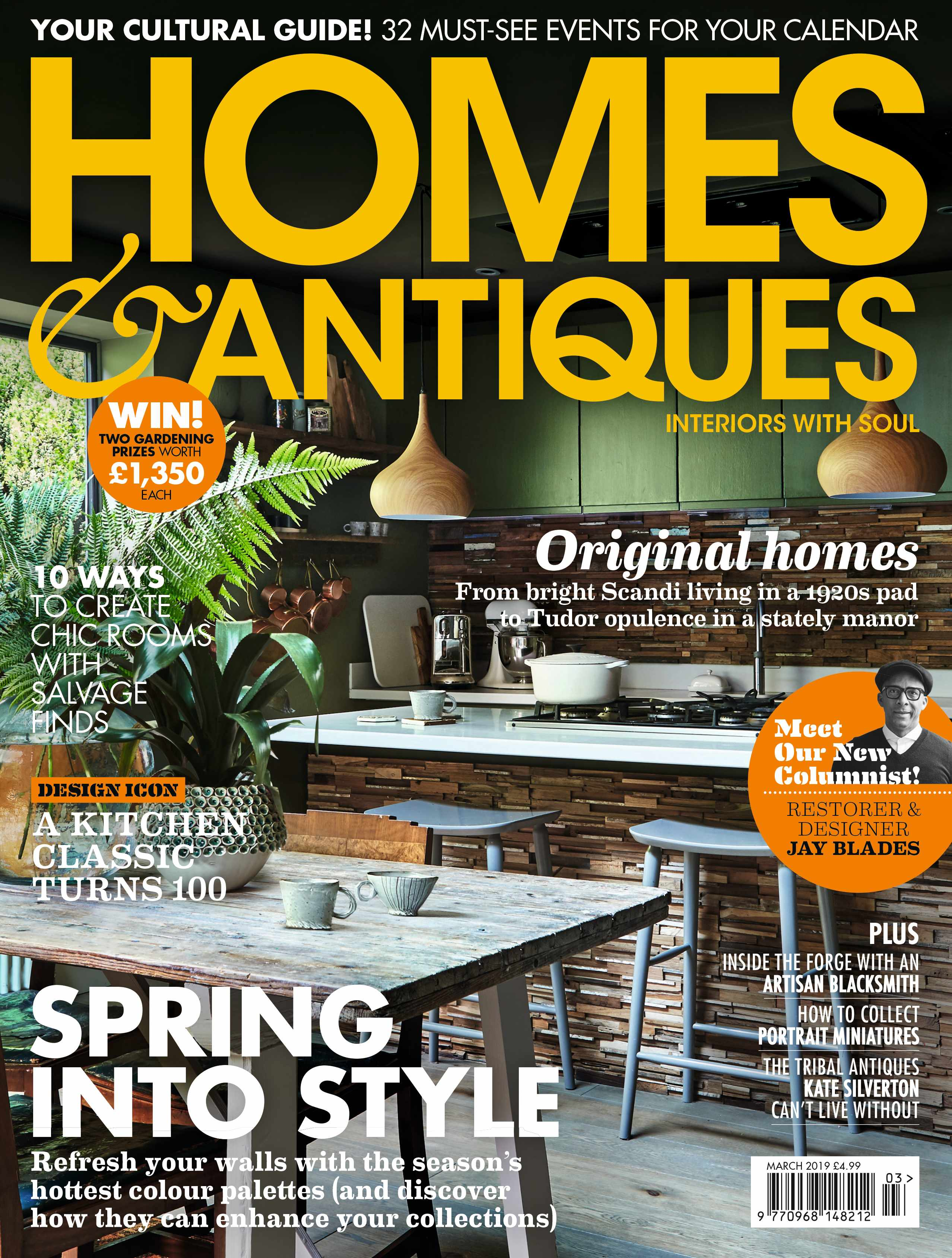 Homes & Antiques magazine March 2019 cover featuring a green kitchen, a KitchenAid, Le Creuset casserole dish and a rustic dining room table