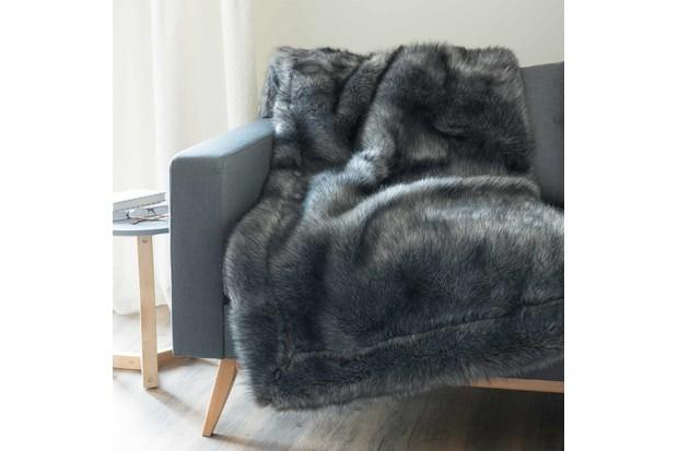 Maisons du Monde Grey Faux Fur Throw