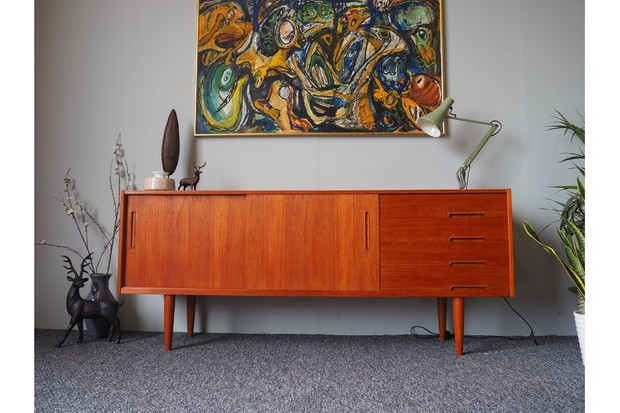 Vinterior Mid Century Swedish Troeds Trento Sideboard against a grey wall styled with an anglepoise lamp