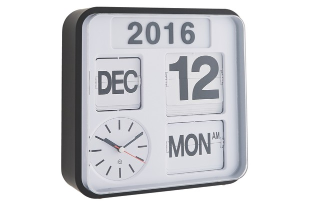 Habitat FLAP white small analogue year wall clock