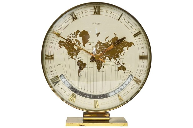 Large Midcentury Kienzle GMT World Time Zone Brass Table Clock, Germany, 1950s, 1stDibs