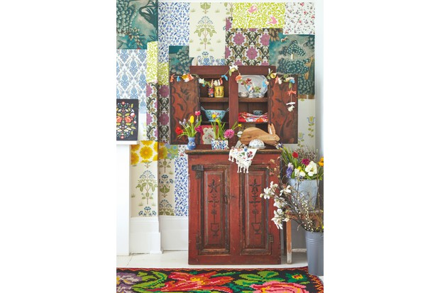 A statement antique folk art Russian cupboard