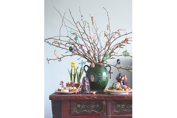 An Easter tree gathered in a large earthenware pot
