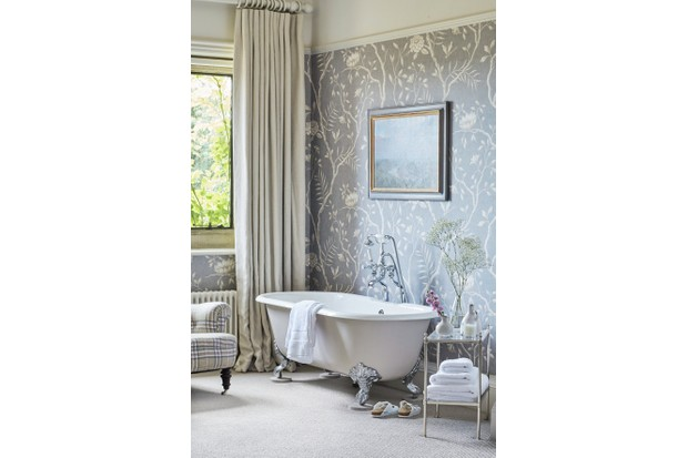This resplendent bathroom features Jasper Peony wallpaper by Lewis and Wood, £68 per m, F&P Interiors. The curtain is made from Sonoran Oyster fabric by Threads, £69 per m, TM Interiors. For a similar tub, try Antique Baths of Ivybridge.