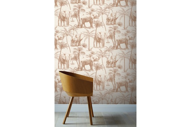 Spiced Honey is used on this safari-print wallpaper