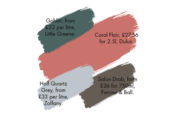 A selection of paint colours to compliment coral