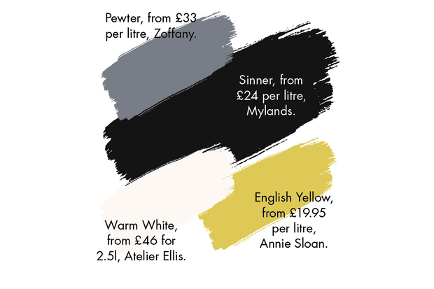 An array of paint colours to compliment black or charcoal