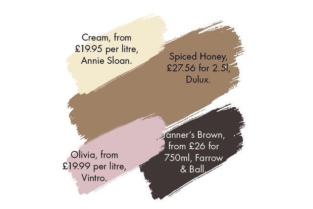 A selection of paint colours to compliment spiced honey