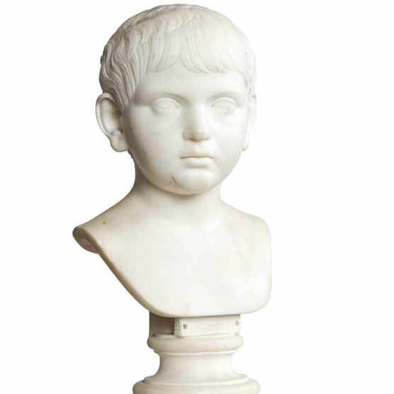 Marble bust of a young boy