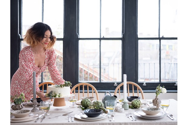 Anna Barnett styling an Easter dining table with her chocolate and ginger cake