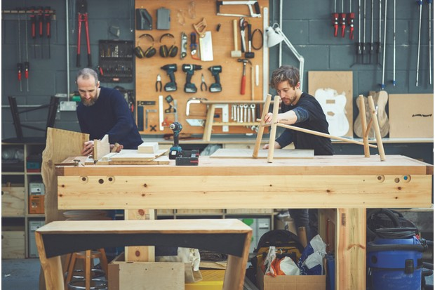 Noah and Ben from Knotch Design work to create a Kwai Dark Matter coffee table