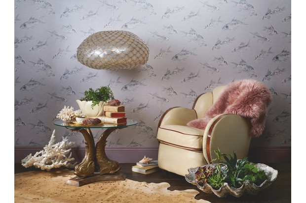 Glamorous reading corner with an Art Deco cloud armchair