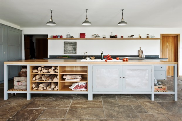 Make a rustic feature of open shelving. Bespoke kitchen from Plain English.